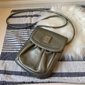 Tignanello silver leather pouch purse with strap